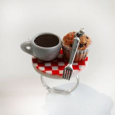 Breakfast Ring - Food Ring - Muffin Ring - Miniature Food Jewelry    this listing is for a very cute breakfast ring .A miniature cup of coffee and a