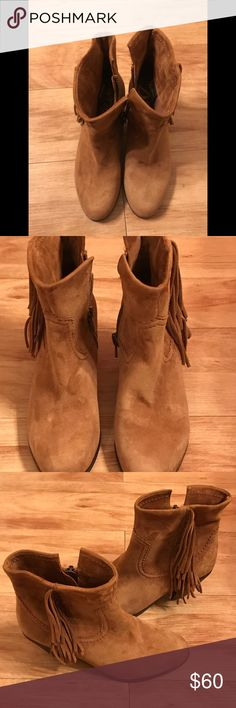 Sam Edelman fringe boots The suede boots have fringe on the side and Western inspired heel. Sam Edelman Shoes Ankle Boots & Booties