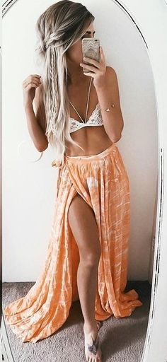 #summer #ultimate #outfits |  White Bralette + Tangerine Maxi Skirt