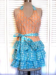 Peach Leaf and Teal Dot Ruffle Skirt Apron by RubyLucilleStudios, $38.00