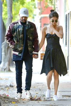 Selena Gomez dressed down an Isabel Marant dress with Converse x Jack Purcell sneakers and round sunnies while out and about with her boyfriend, The Weeknd.