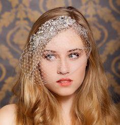 Birdcage veil, Rhinestone Veil, Crystal Veil, Jeweled Veil, Blusher Veil, Crystal bridal Headpiece - Made to Order -MARGOT. $88.00, via Etsy.
