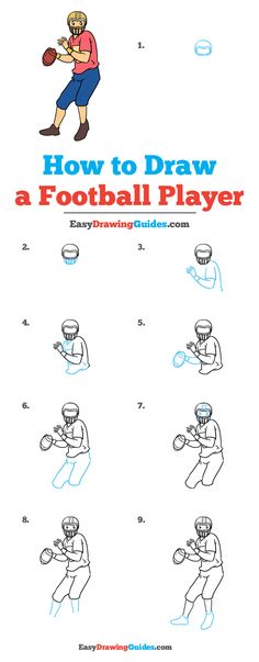 Learn to draw a football player. This step-by-step tutorial makes it easy. Kids and beginners alike can now draw a great looking football player. Drawing Tutorials For Kids, Drawing For Kids, Art Tutorials, Draw Animals For Kids, Football Player Drawing, Children Sketch, How To Draw Eyebrows, Beginner Art, Art Lessons For Kids