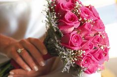 Pink roses accented with baby's breath.