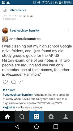 "When in doubt on a short answet question, simply write: ""My name is Alexander Hamilton!"" How can they argue with that? Also that little icarly thing at the bottom xD What Do You Mean, What Is Your Name, Alexander Hamilton, Hamilton Lin Manuel Miranda, Aaron Burr, Hamilton Musical, And Peggy, Dear Evan Hansen, My Tumblr"