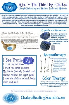 Ajna, Third Eye or Brow Chakra balancing, with crystals, gemstones, aromatherapy, color therapy, sound and affirmations. For more information and resources, visit our webpage.
