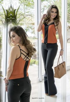 from Catálogo Bump Jeans Office Outfits, Chic Outfits, Blouse Styles, Blouse Designs, Stylish Clothes For Women, Trendy Tops, Business Fashion, Casual Chic, Casual Looks