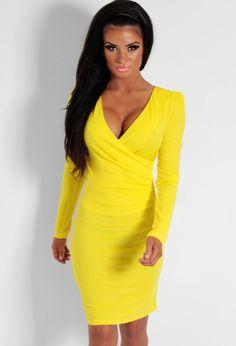 Goldilocks Yellow Plunge Wrap Bodycon Dress | Pink Boutique