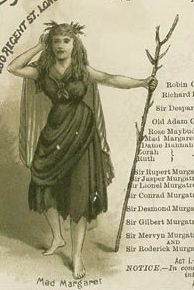 "Jessie Bond as Mad Margaret (Act One) in the original 1887 production of ""Ruddigore."" Illustration by Alice Mary Havers (Morgan) from an 1880s Savoy Theatre souvenir program."