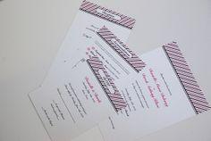 Pinstripe pink and black custom wedding invitation