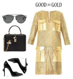 """""""#gold"""" by einatv on Polyvore featuring Diane Von Furstenberg, Yves Saint Laurent, Dolce&Gabbana and Christian Dior"""