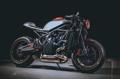 A hopped up KTM with an arsenal of custom CNC-milled parts. is this the fastest cafe racer on the road? Ktm Cafe Racer, Moto Cafe, Cafe Racer Motorcycle, Motorcycle Style, Cafe Racers, Brat Cafe, Ktm Motorcycles, Custom Motorcycles, Custom Bikes