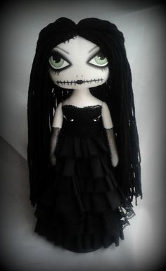 This is Marsha of the swamps  She is made from 100% cotton & stuffed with fibre fill. I have used acrylic paints, pastels & pencil for her facial features. Then a fixative was used to seal. Her hair is Black acrylic wool. Marsha is wearing a Black polycotton dress with raw edges & a touch of lace. She has long black net gloves & black legs. Marsha needs some support to help her sit. Doll stand is NOT included Marsha is approx 13 tall  Marsha is an Art Doll and is NOT suitable for anyone…