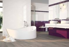 Very modern bathroom that combined intense colors and amazing reliefs of the 9502 and the 9505 series. #ceramics #tiles #interiordesign