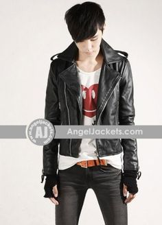 7a76b1ef403 Handsome Large Lapel Solid Cutting PU Leather Short Paragraph Motorcycle  Jacket For Men. AngelJackets · Celebrity Leather Coat