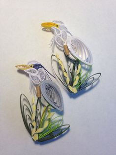 Quilled Blue Heron Magnet