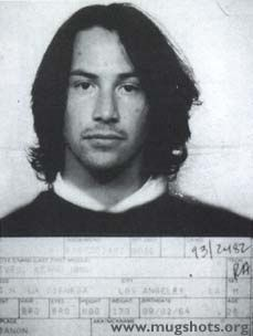 Keanu Reeves Mugshot. Arrested for DUI in 1993 in Los Angeles.