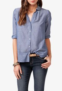 Round Collar Chambray Shirt