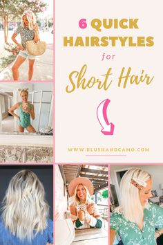 Whether you have short hair now, or are just thinking about taking the plunge, here are 6 quick and easy hairstyles for short hair! Get out of your hair rut with barrettes and headbands! #shorthairstyles #hairinspo #quickandeasyhairstyles #barrettes #headbands