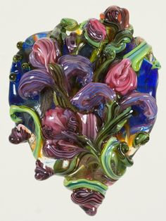Glass Lampwork Bead  Focal Glass Floral by PatsyEvinsStudio, $147.00