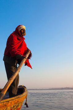 Man on a Boat - Allahabad, India