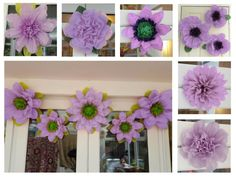 Details about flower wall pom pom paper flowers 192845 60cm pompom set 3x tissue paper flowers 45cm wedding by gisellesbloom mightylinksfo