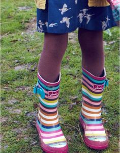 fcac97eb7 JNR WELLY Girls Printed Wellies Pink Stripes