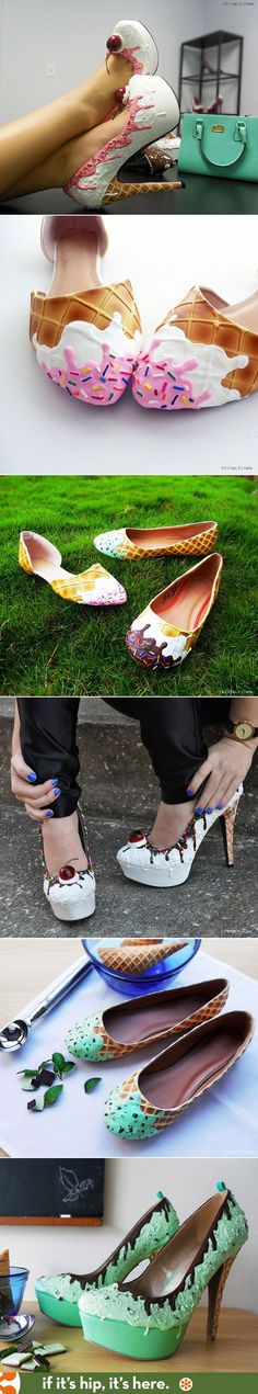 You scream, I scream, we all scream for these awesome Ice Cream Shoes! http://www.ifitshipitshere.com/wearable-confections-shoe-bakery-will-give-sugar-high/