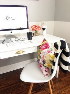 simple. two-tone walls. stripes + florals. This should be my office :D