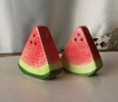 Vintage Salt and Pepper Shakers Watermelon by cynthiasattic