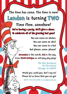 Cat in the Hat Dr Seuss Birthday Invitation by GeminiCelebrations, $11.50-invitation wording