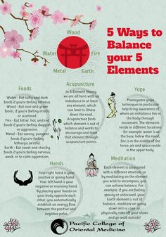 5 Ways to Balance the 5 Elements: TCM Traditional Chinese Medicine includes Yoga, Meditation, Foods, Acupuncture, Hands. Qi Gong, Ayurveda, Mind Body Spirit, Mind Body Soul, Alternative Health, Alternative Medicine, Holistic Healing, Natural Healing, Holistic Medicine