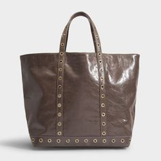 Vanessa Bruno Moyen + Cabas Tote Bag In Grey Vanessa Bruno, Medium Tote, Fashion Bags, Tote Bag, Canvas, Chic, Grey, Lace, Leather Interior