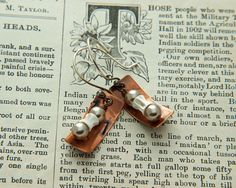 Pearls and bones copper earrings. by DragonflyDreamers on Etsy, $22.00
