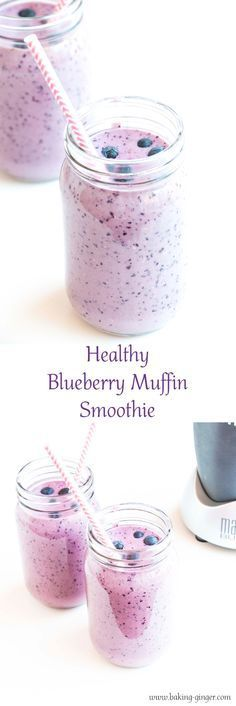 Delicious and healthy smoothie recipe that tastes just like a blueberry muffin without the calories. The perfect breakfast or snack. Gluten-free and vegan alternatives given.