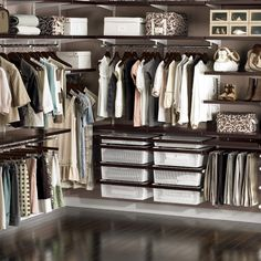 :: Elfa closet system.  Walnut + white.  The Container Store.