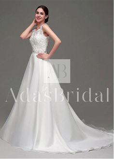 Sale $84 In Stock Gorgeous Organza Satin & Lace Scoop Neckline A-Line Wedding Dresses With Rhinestones