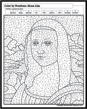 Wonderful colour by number pictures on this site print for Mona lisa coloring pages