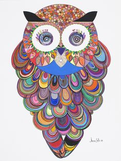 owl....not sure what this is made of or if it's a painting but I think it'd be really cool made with patterned scrapbook paper scraps!