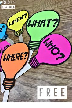 Free Question Bulbs Are you teaching how to ask questions? Here are some free question bulbs to use in your classroom.