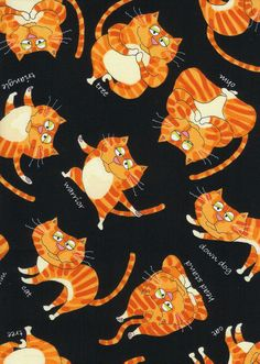 Cats & Dogs, TTcat-c7665-orange, New England Quilt Supply