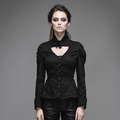 Devil Fashion Winter Women Casual Shirt Steampunk Black Slim Retro With Detachable Collar Long Sleeve Blouses European Style