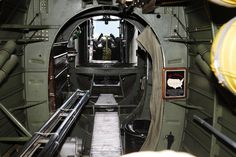 Airplane - B-24 Liberator. Looking forward toward the cockpit from the bomb bay.