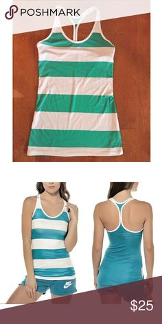 Nike Green and White Striped Training Tank .A flattering training piece with the perfect pop of color.  This tank offers lightweight breathability, racerback design for full range of motion. Dri-FIT fabric helps you stay dry and comfortable.  Narrow racerback strap provides a flattering silhouette. Mesh back enhances ventilation. Length hits below the hip for perfect coverage.  A rugby stripe design is printed throughout.  Material 88% Polyester, 12% Spandex Plain Jersey, Dri-FIT.  Machine…
