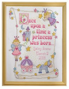 Bucilla Princess Birth Record 10-Inch-by-13-Inch Counted Cross Stitch Kit, 14-Count:Amazon:Arts, Crafts & Sewing