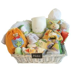 CANASTILLA PERSONALIZADA ALGODÓN GRANDE COLORES. Cestas para bebé. Canastillas para recién nacido. Regalos para bebé.