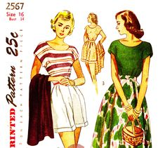 Simplicity 2567 Vintage 1940s Top, Skirt and Shorts Spring, Summer or Beach Wear Sewing Pattern Size 16 by DRCRosePatterns on Etsy