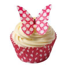 12 Pünktchen Design Essbare Schmetterlinge: Kirschrot / Edible Wafer Butterflies: Cerise Polka Dot von Holly Cupcakes, http://www.amazon.de/dp/B00CHLAFEG/ref=cm_sw_r_pi_dp_cct1sb1N647ZB