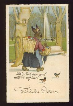 FRITZ BAUMGARTEN Frau Osterhase mit Kiepe und Körbchen mit Ostereiern | eBay