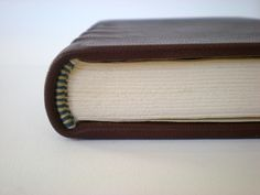 Secondary endband with front bead on full leather binding. Created summer 2012.